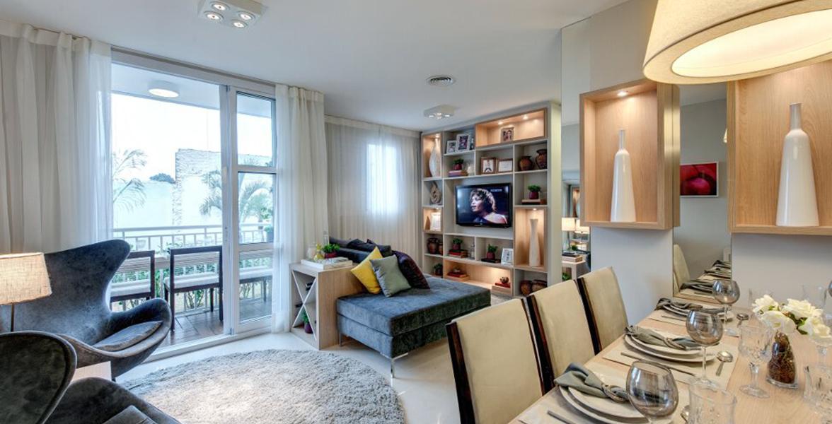 SALA AMPLIADA do apto de 60 m² com bastante espaço para receber bem.