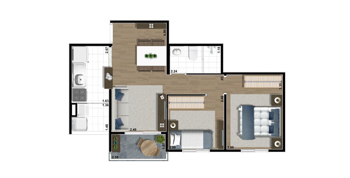 47 M² - 2 DORMS. Apartamento na Vila Prudente com 2 dormitórios e cozinha americana. É o apto com menor preço para famílias com filhos.
