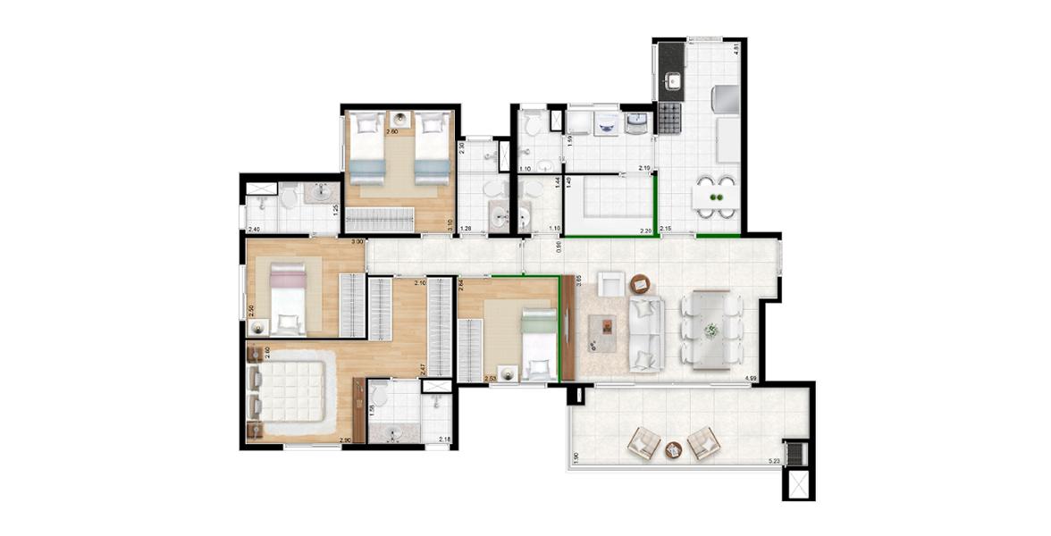 Planta do Quatro Brooklin. 116 M² - 4 DORMS., SENDO 2 SUÍTES. Apartamento no Brooklin com 4 dormitórios e cozinha fechada, com depósito. Ainda conta com um excelente living com amplas portas de vidro melhorando a integração com o terraço gourmet com churrasqueira.