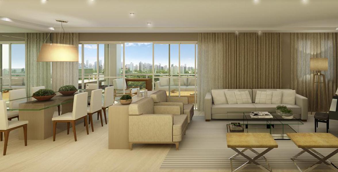 LIVING AMPLIADO com amplos caixilhos e portas de vidro, melhorando a integração com o terraço gourmet.