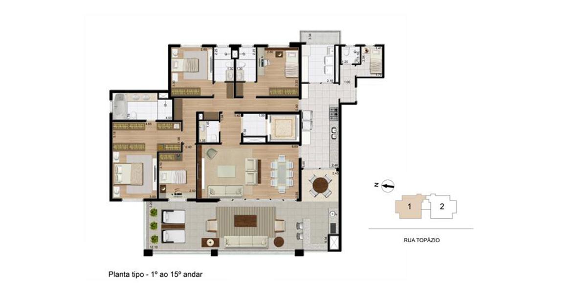 208 M² - 4 DORMS., SENDO 3 SUÍTES. Apartamento na Aclimação com 4 dormitórios para famílias maiores. Possui hall privativo, passagem íntima, entrada de serviço e excelente suíte master com closet e hidro. Destaque para o amplo terraço gourmet com 12 m.