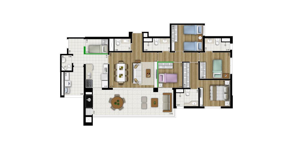 134 M² - 4 DORMS., SENDO 2 DORMS. Apartamento no Brooklin com 4 bons dormitórios para famílias grandes, tem excelente cozinha integrada ao terraço gourmet e à área de serviço com entrada exclusiva e dormitório de empregada.