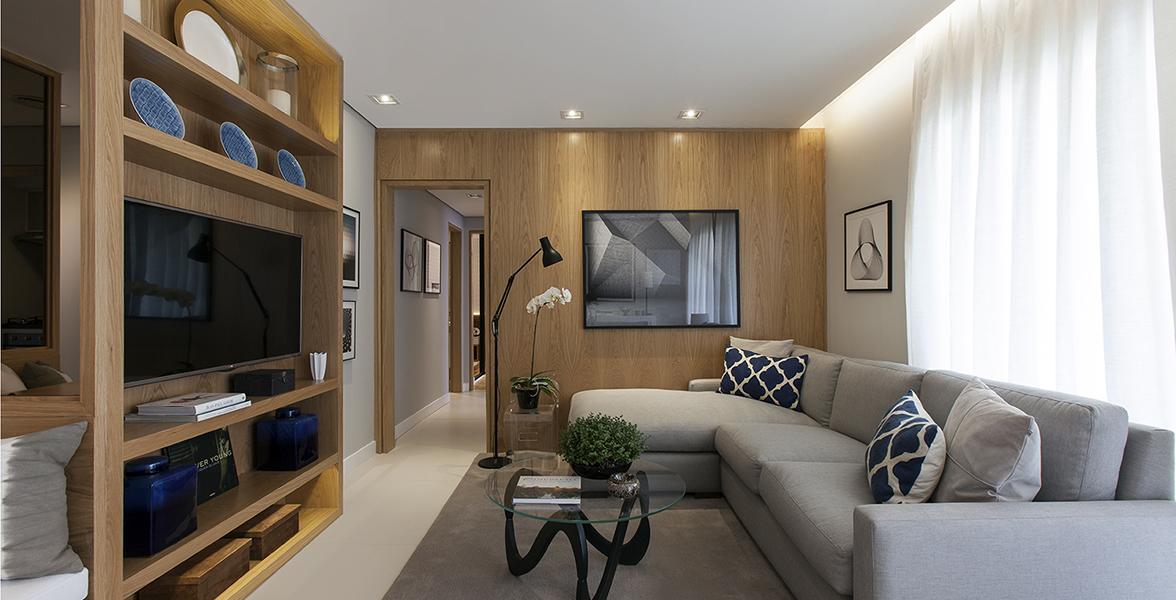 LIVING do apto de 87 m² bastante confortável com mais de 5 metros de boca de sala do SP Sumaré Perdizes