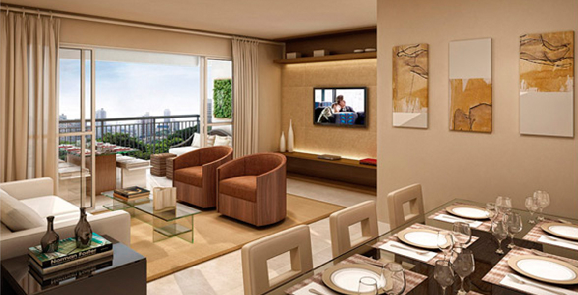 LIVING AMPLIADO do apto de 83 m² com amplas portas de vidro que melhoram a integração com o terraço gourmet.