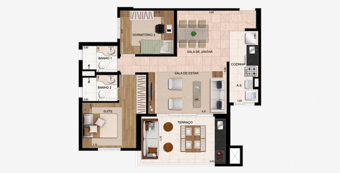 83 M² - 2 DORMS., SENDO 1 SUÍTE. Apartamento em Guarulhos com sala ampliada, integrada ao amplo terraço gourmet com 5 metros de frente e opção de churrasqueira.