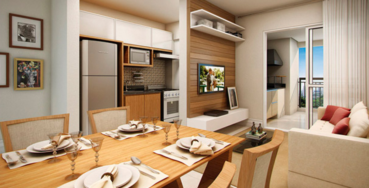 LIVING do apto de 67 m² (final 2) com cozinha integrada.