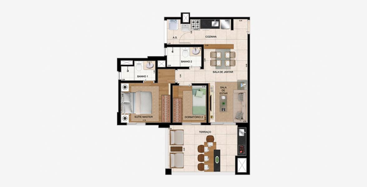 67 M² (FINAL 1) - 2 DORMS., SENDO 1 SUÍTE. Apartamento no Sacomã com 2 dormitórios e 2 banheiros, ambos com iluminação e ventilação natural. Sala se integra à cozinha e ao amplo terraço gourmet com opção de churrasqueira.