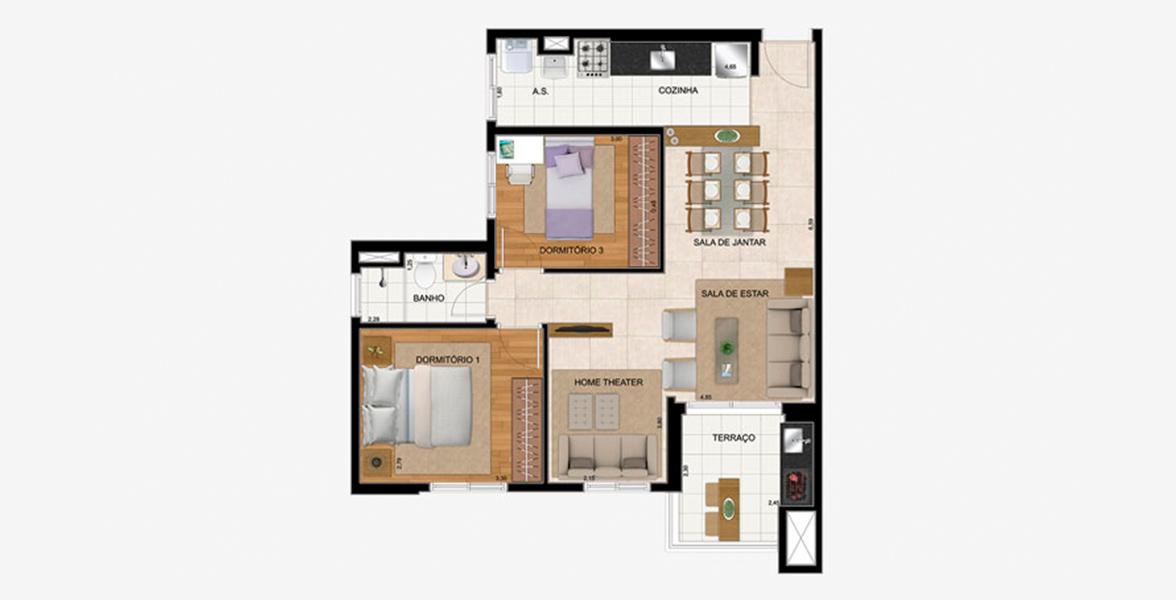 65 M² - 2 DORMS. Apartamento em São Bernardo com living ampliado, criando uma reservada Sala de TV, ainda conta com apoio do terraço com opção de churrasqueira.