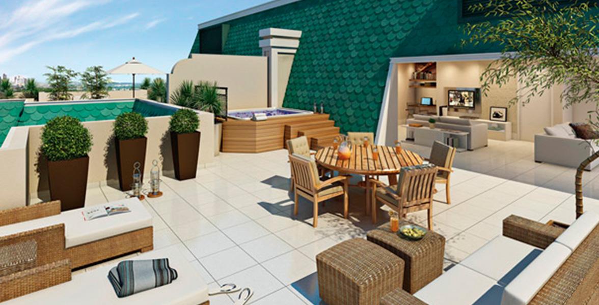 TERRAÇO da cobertura duplex superior de 247 m² com living coberto, integrado ao ambiente descoberto com infraestrutura para spa e bastante espaço para seu solarium privativo.
