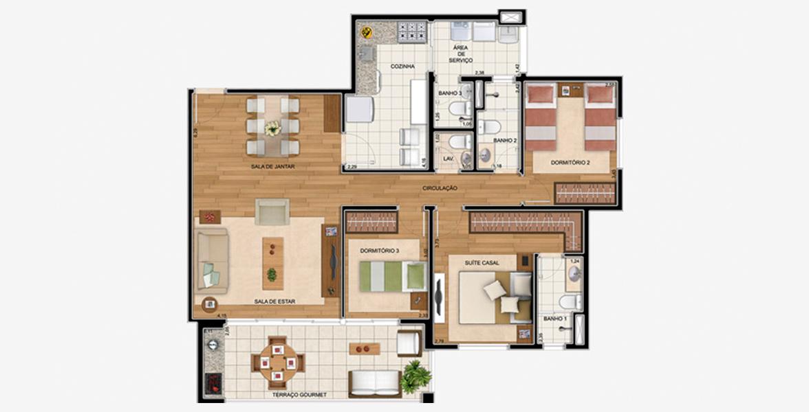 105 M² - 3 DORMS., SENDO 1 SUÍTE. Apartamento no Horto Florestal com 3 dormitórios com destaque para a suíte casal com ampla área para armário. Tem ampla cozinha e dependência de serviço completa.