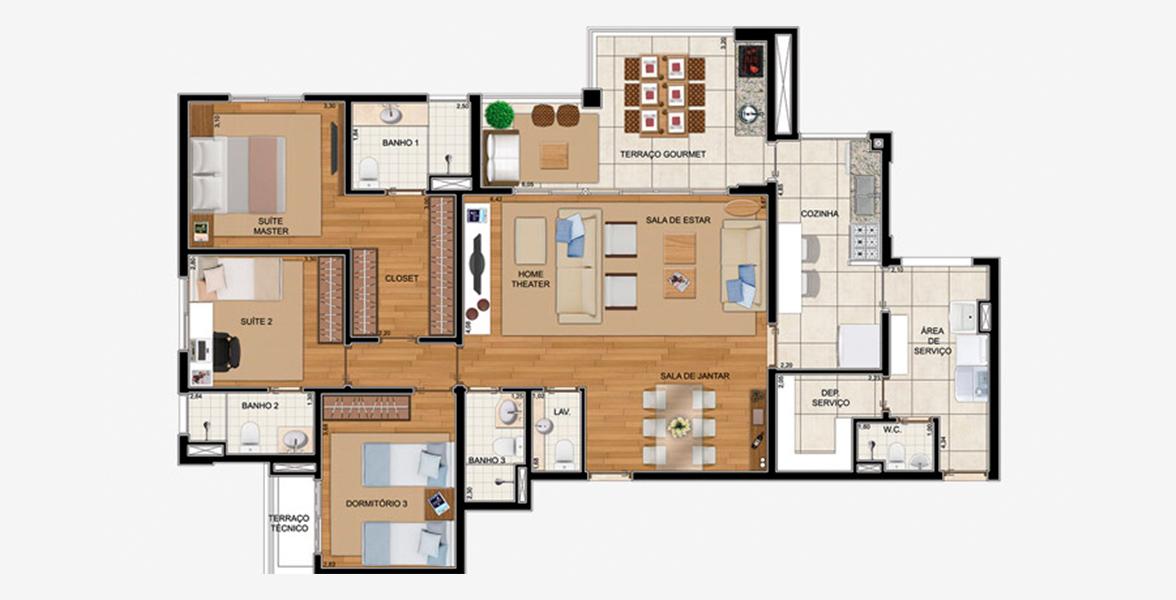 Planta do Royale Prestige. 150 M² - 3 SUÍTES. Apartamento em Santo André com sala ampliada, quase que inteiramente integrada ao amplo terraço gourmet com opção de churrasqueira e passagem direta para a cozinha. Tem ótima suíte master com closet e amplo banheiro.