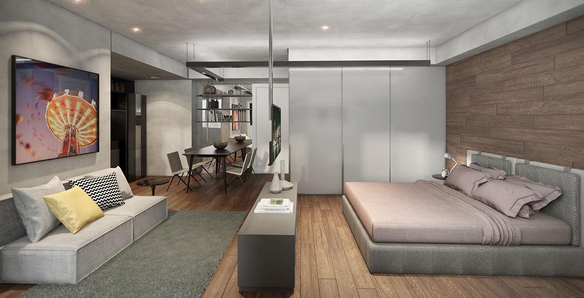 STUDIO de 45 m² com circulação bem fluída, ainda conta com apoio de uma amplo terraço com 5 metros de frente.