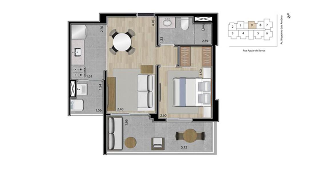45 M² - 1 DORM. Apartamento na Bela Vista com 1 dormitório para quem prefere a privacidade de um dormitório. Ainda conta com boa área para receber, devido à cozinha integrada e à ampla varanda, que apoia o living.
