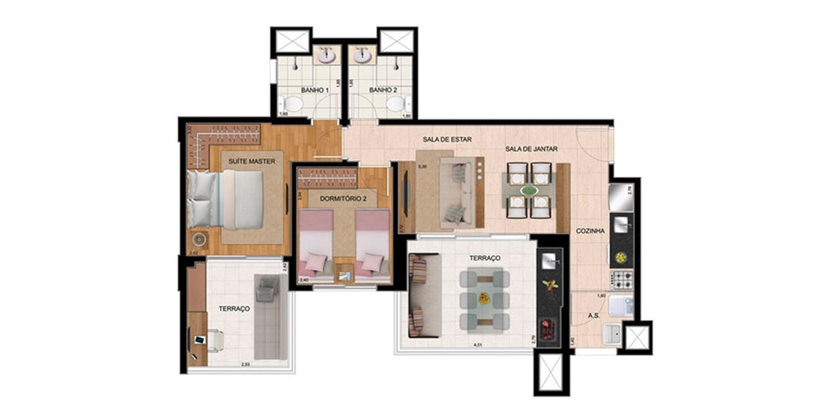 Planta do Up Home Santana. floorplan