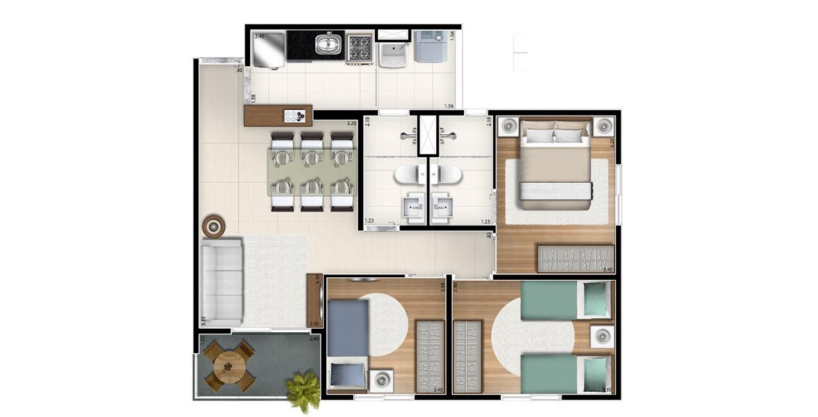 59 M² - 3 DORMS., SENDO 1 SUÍTE. Apartamento no Belém para famílias maiores, acomoda até casais com 2 filhos. O casal tem o benefício da suíte com banheiro com ventilação natural. Na sala, há espaço confortável para a mesa de jantar.