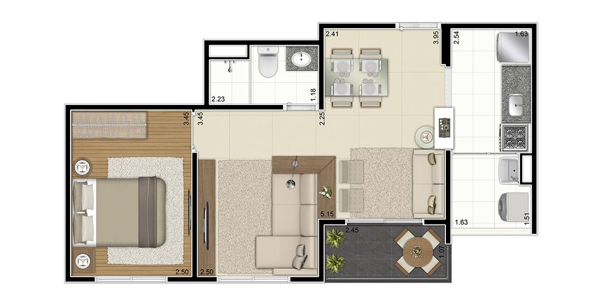 45 M² - 1 DORM. Apartamento com sala ampliada e cozinha americana. Tem um bom dormitório para o casal com janela com persiana de enrolar.