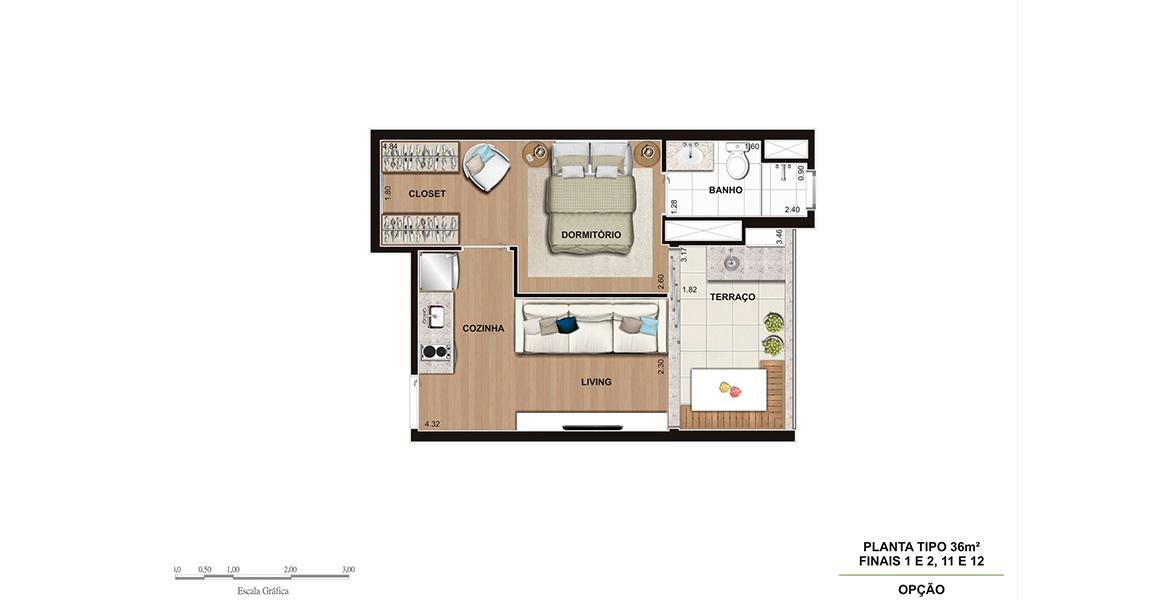 36 M² - 1 SUÍTE. Apartamento na Vila Madalena com 1 dormitório para quem prefere maior privacidade. O dormitório conta com closet, espaço para cama king size e amplo banheiro.