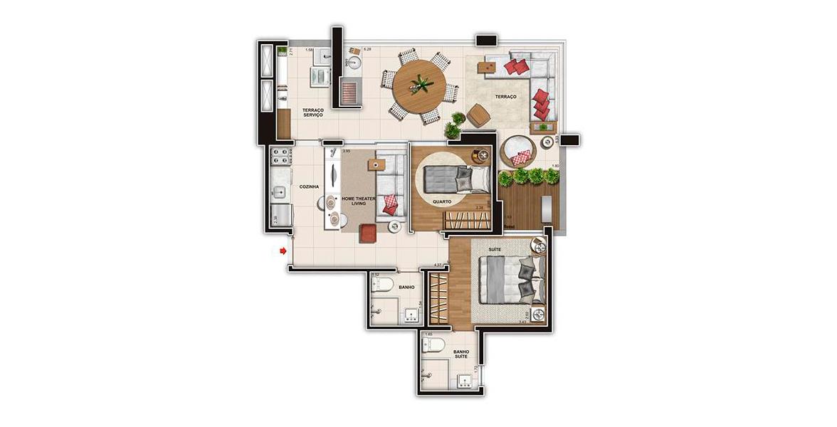 Planta do Villa 156. 69 M² - 2 DORMS., SENDO 1 SUÍTE. Apartamento na Vila Mariana com 2 dormitórios e uma boa sala integrada à cozinha e ao amplo terraço em L com churrasqueira, o grande destaque do apto.
