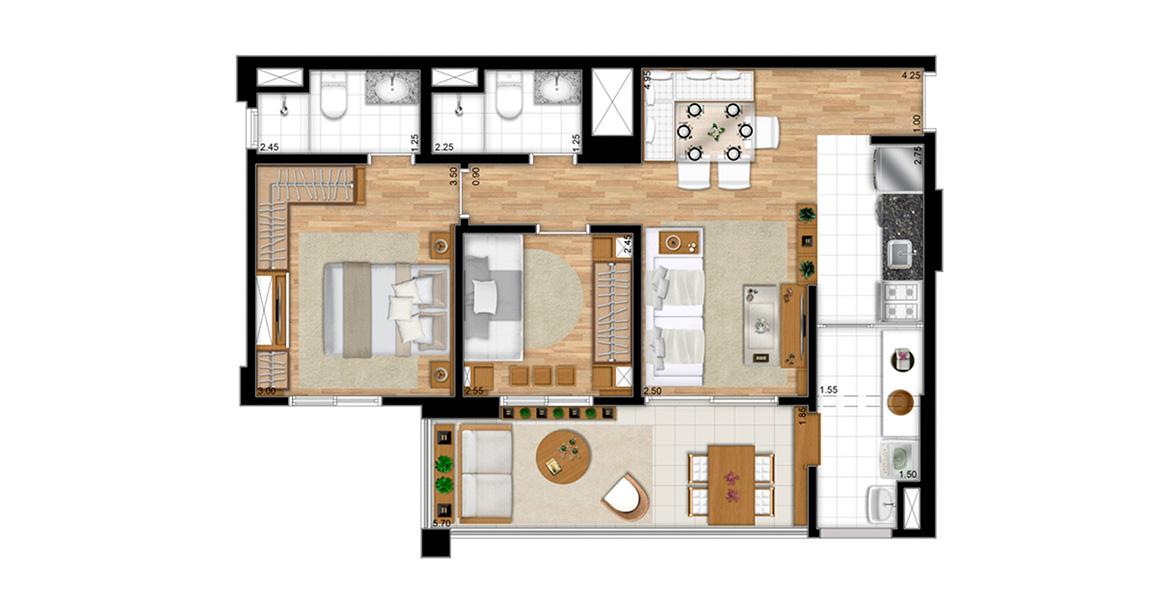 68 M² (A) - 2 DORMS., SENDO 1 SUÍTE. Apartamento no Ipiranga com 2 banheiros, sendo o da suíte com iluminação e ventilação natural. A varanda é excelente, com mais de 5 metros de frente, apoiando a sala.