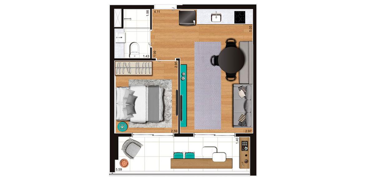 40 M² - 1 DORM. Apartamento no Tatuapé de 1 dormitório, tem amplo terraço com mais de 5 m de frente e flexibilidade para transformá-lo num studio.