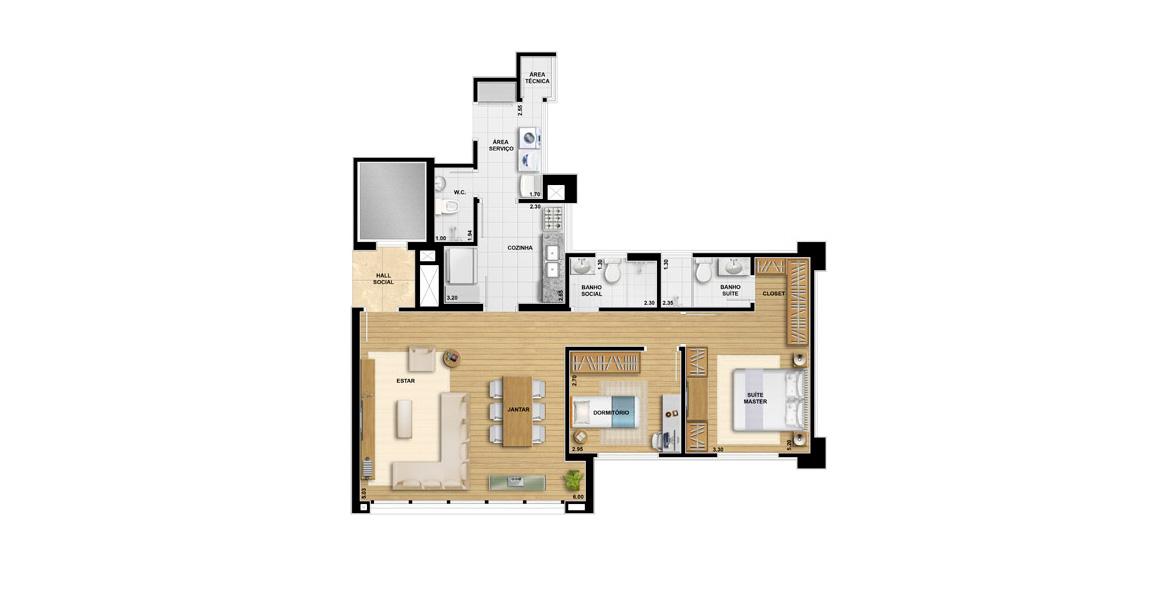 89 M² - 2 DORMS., SENDO 1 SUÍTE. Apartamento em Alphaville com 2 dormitórios, sendo 1 suíte do casal com closet. A sala conta com 6 metros de boca de sala e grandes janelas quase de ponta a ponta.