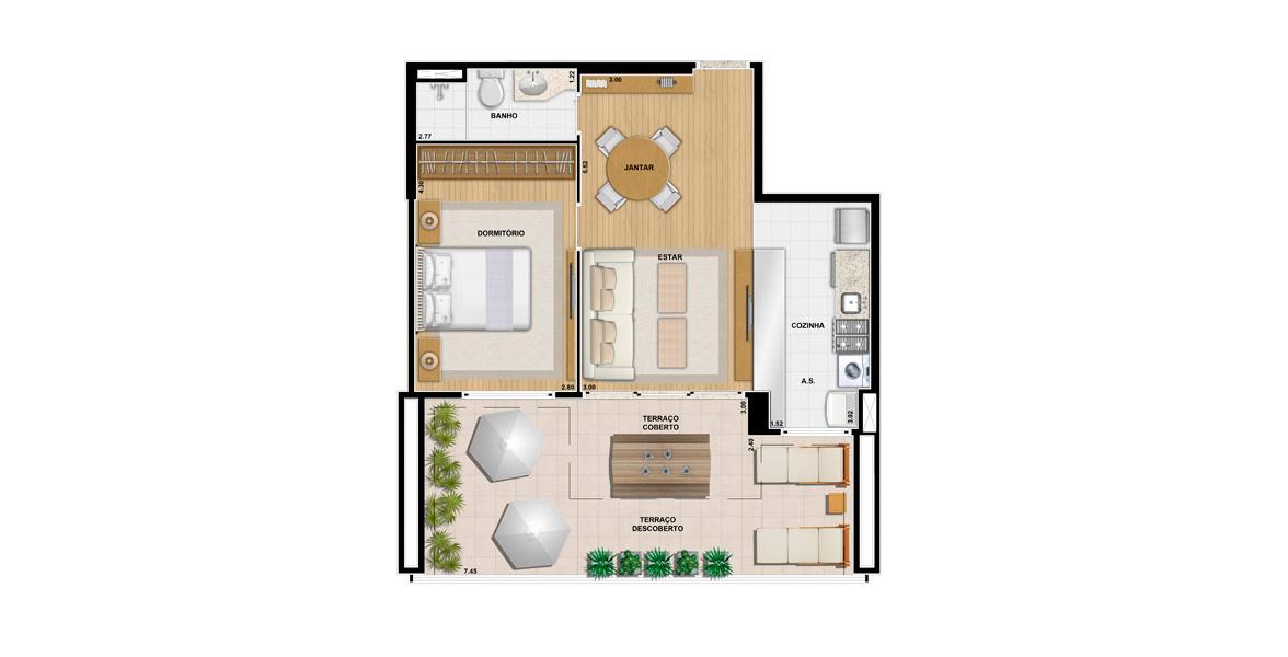 68 M² - 1 DORM. Apartamento garden com 1 dormitório, semelhante à planfa de 50 m², porém com o diferencial da sala integrada ao confortável terraço com mais de 7 metros de frente.