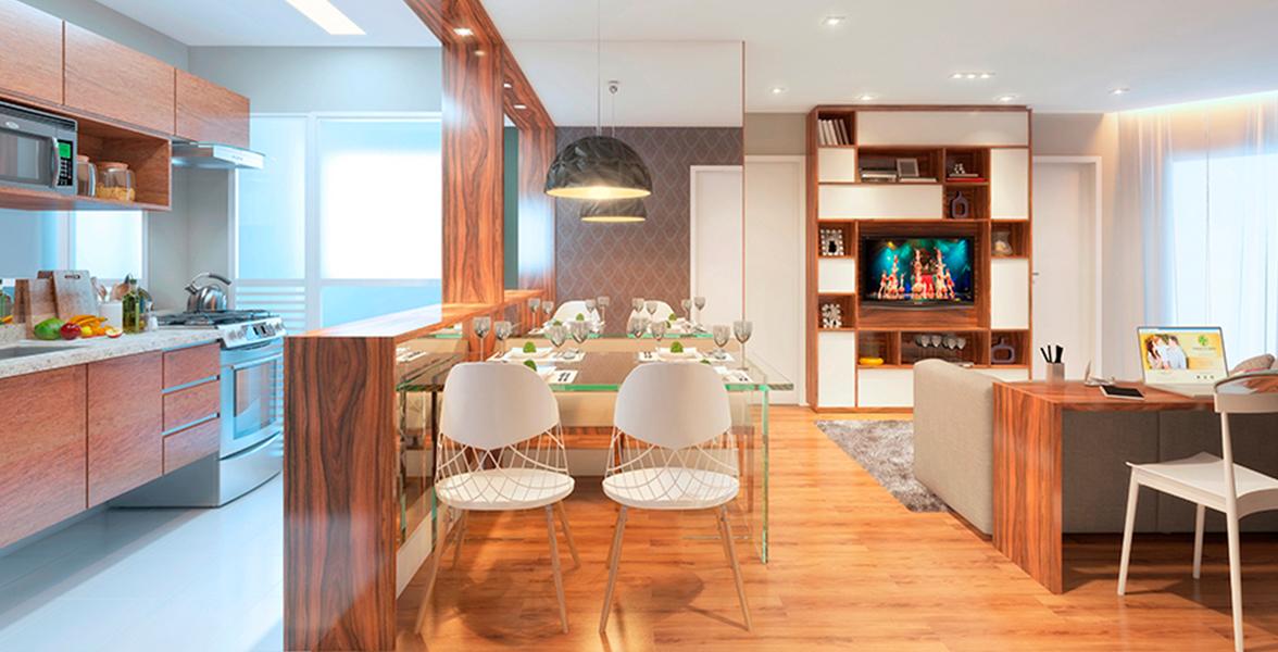 SALA do apto de 51 m² com cozinha americana e boa área de circulação, sem apertos!