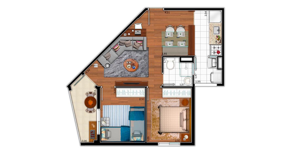 51 M² - 2 DORMS. Apartamento no Jardim Monte Alegre com metragem compacta, tem boa sala integrada à cozinha e à varanda que conta com ponto grill.
