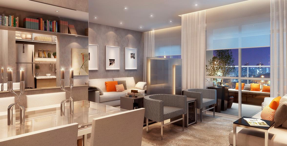 LIVING AMPLIADO do apto de 63 m² que cria uma reservada Sala de TV.