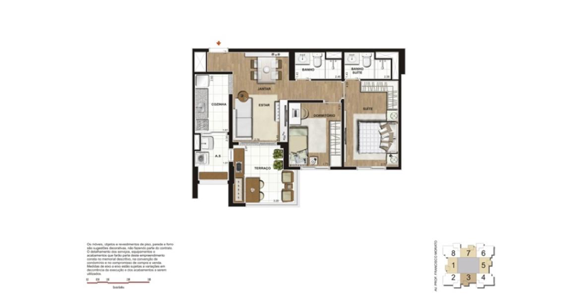 63 M² - 2 DORMS., SENDO 1 SUÍTE. Apartamento na Vila Sônia com 2 dormitórios, sendo uma boa suíte para o casal com closet. O terraço se integra à sala e à cozinha através de um passa prato.