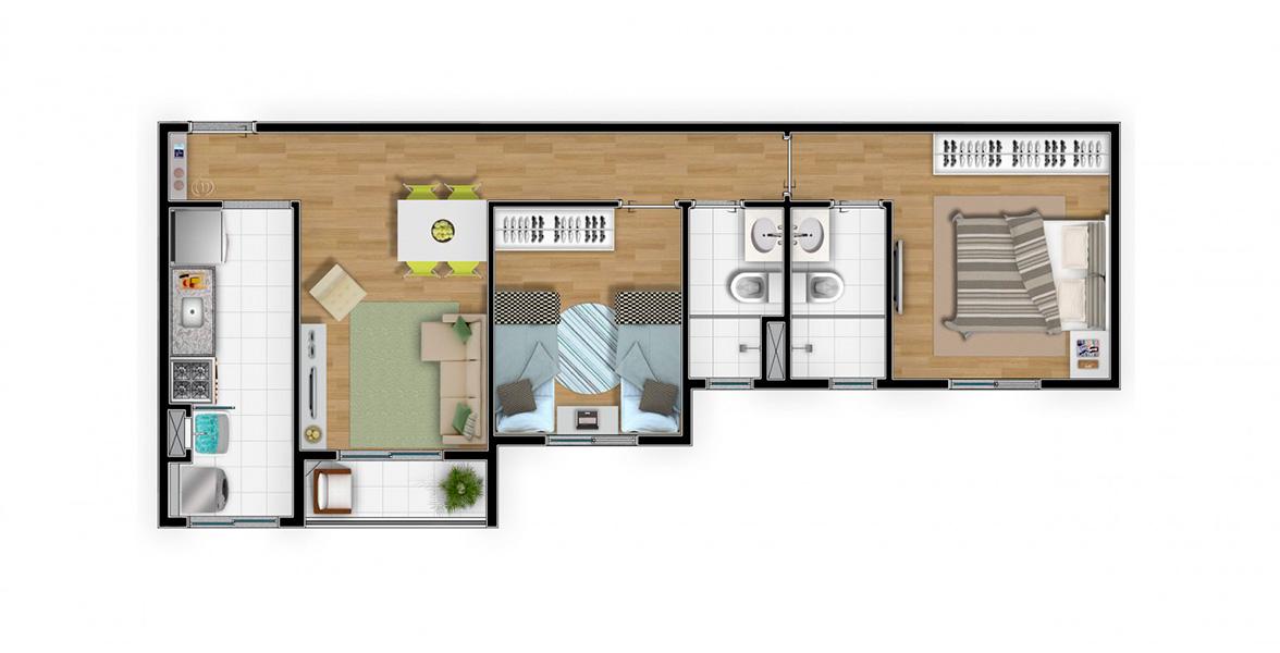 Planta do Alameda das Palmeiras. 55 M² - 2 DORMS., SENDO 1 SUÍT     E. Apartamento em Pirituba com uma suíte para o casal, ainda tem um dormitorio para os filhos e sala integrada à varanda.