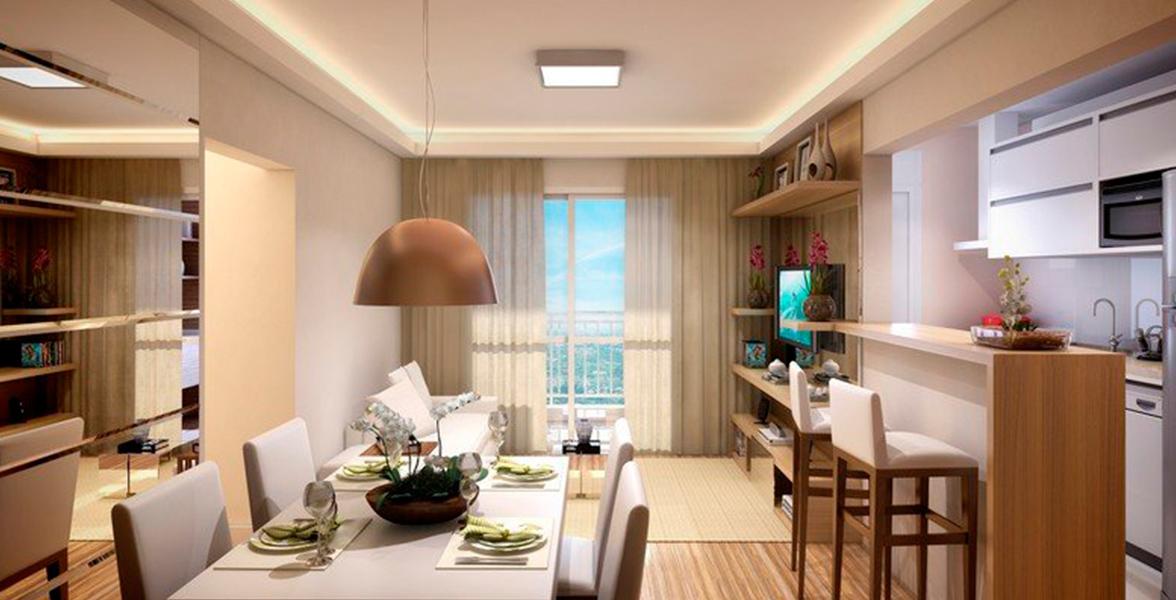 LIVING do apto de 75 m² com cozinha americana e varanda integrada.