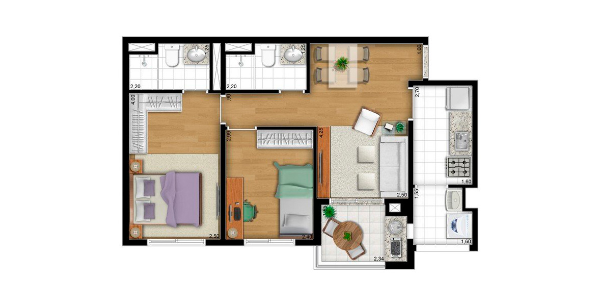 Planta do Aquarella Pari. floorplan