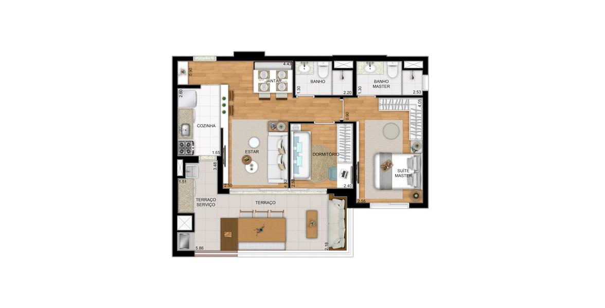 Planta do Biografia Vila Mariana. 68 M² - 2 DORMS., SENDO 1 SUÍTE. Apartamento na Vila Mariana com 2 dormitórios, sendo uma ótima suíte para o casal, com boa área para armário. O terraço gourmet em L é um show a parte com churrasqueira, mais de 5 m de frente.