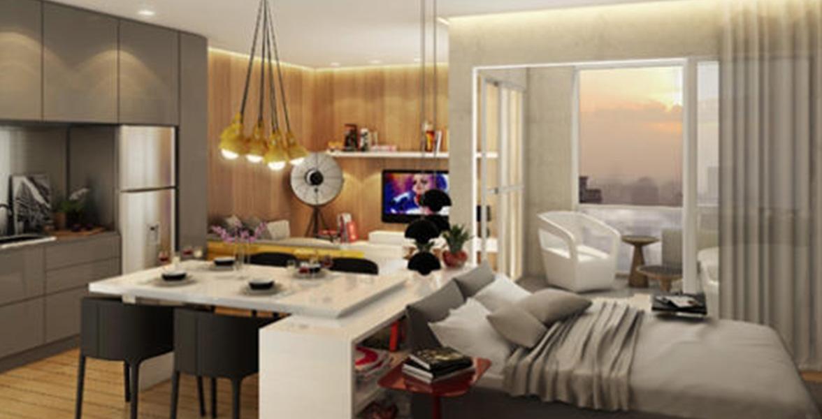 STUDIO de 56 m² que você pode contratar o Smart Décor para receber o apto pronto para morar, uma prática opção para moradores e investidores do Home Design Ibirapuera