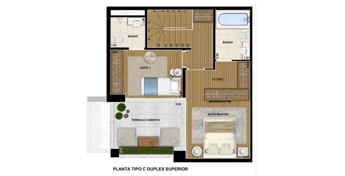 Planta do Home Design Ibirapuera. 100 M² - 2 SUÍTES. Duplex Superior com 2 suítes, sendo a suíte master com espaço para closet e banheiro com infraestrutura para banheira.