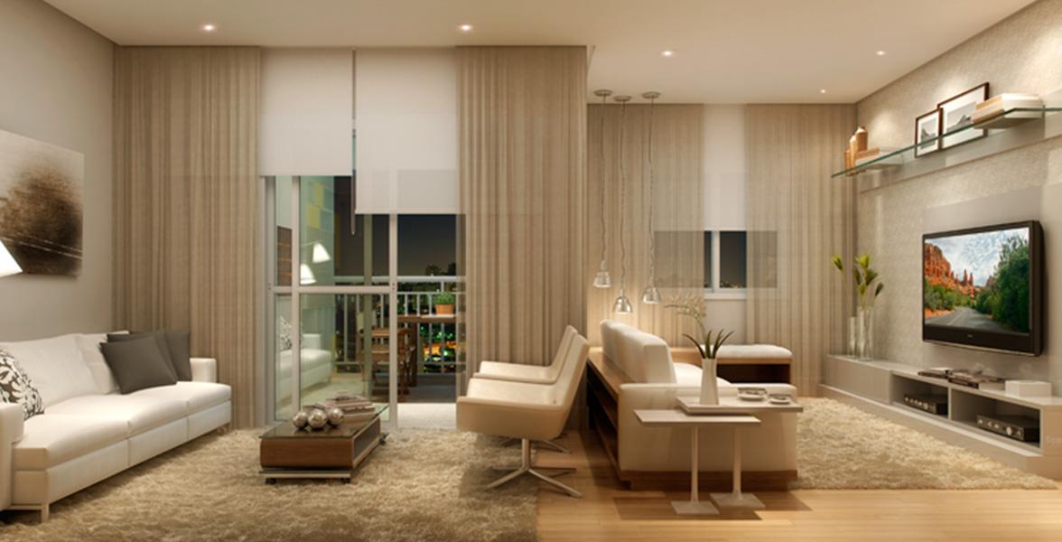 LIVING AMPLIADO do apto de 78 m² com uma reservada Sala de TV do Clip Design