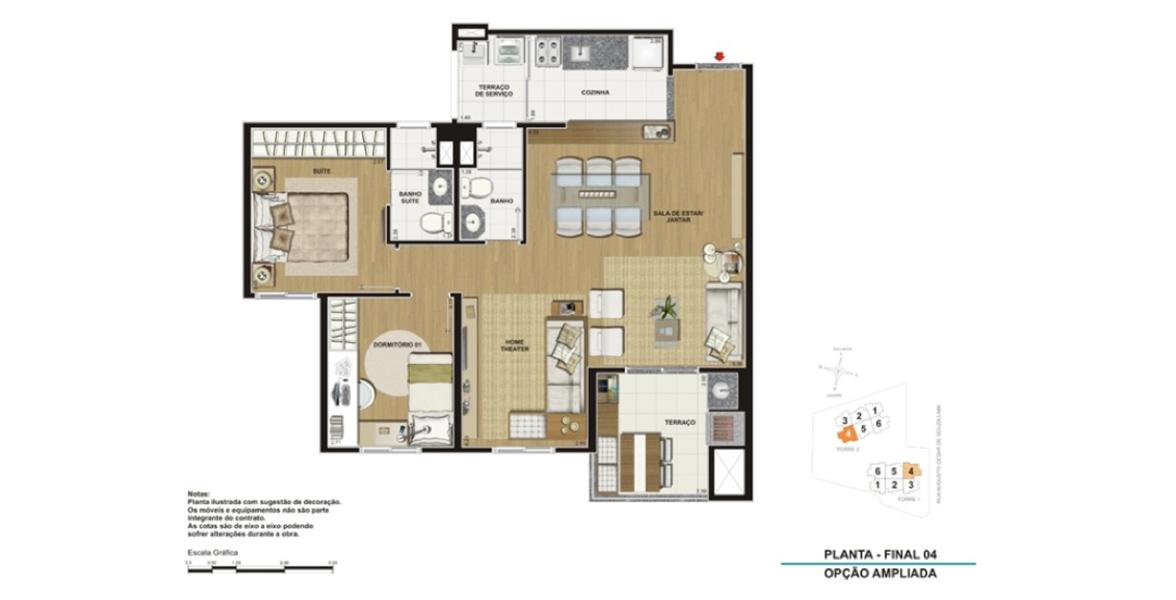 Planta do Clip Design. 78 M² - 2 DORMS., SENDO 1 SUÍTE. Apartamento na Vila Augusta com living ampliado e cozinha americana! Os aptos de 78 m² ainda contam com a exclusividade do terraço gourmet com churrasqueira.