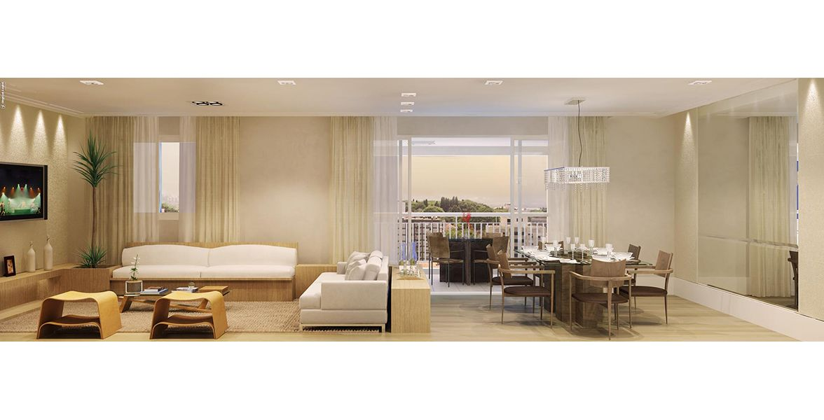 LIVING E SALA DE JANTAR do apto de 123 m².