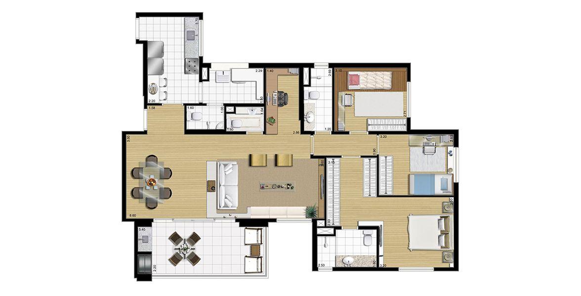 123 M² - 3 DORMS., SENDO 1 SUÍTE. Apartamento no Centro de São Bernardo com living ampliado integrado à varanda gourmet com apoio de um lavabo, muito útil às visitas. Tem confortável suíte master com ampla área para armário.