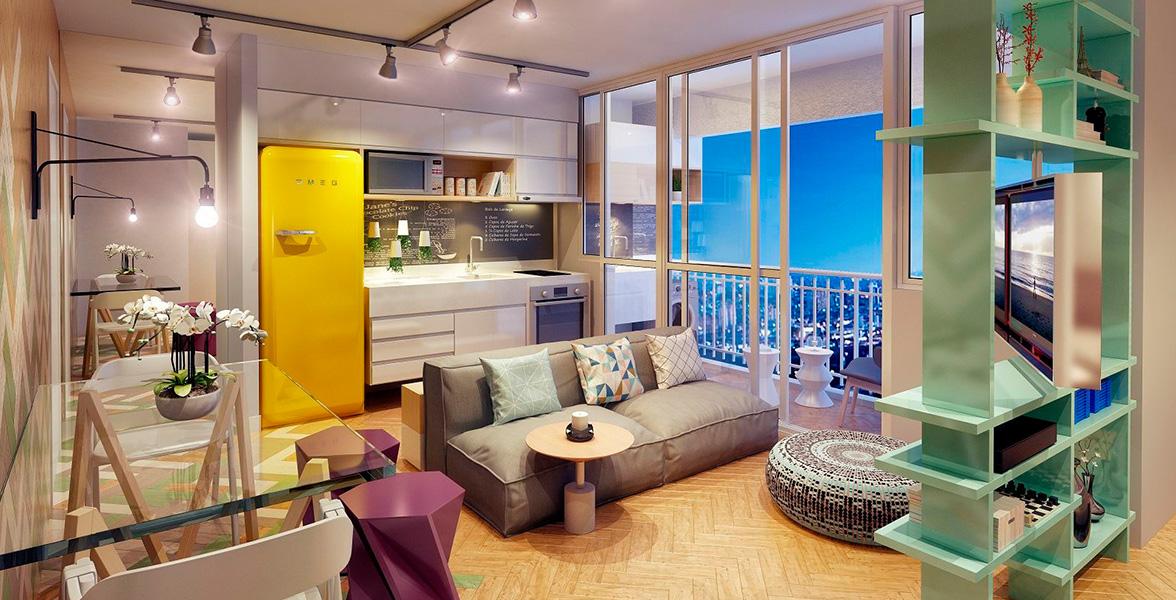 LIVING do apto de 36 m² do Átrio Vila Madalena