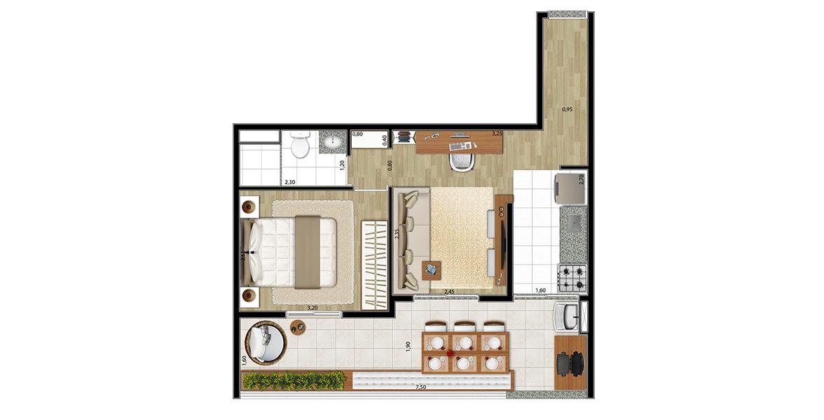 Planta do Art's Mourato Coelho. 50 M² - 1 DORM. Apartamento em Pinheiros com amplo terraço com mais de 7 metros de frente, integrado à sala e à cozinha, complementando bem a sala, principalmente ao receber.