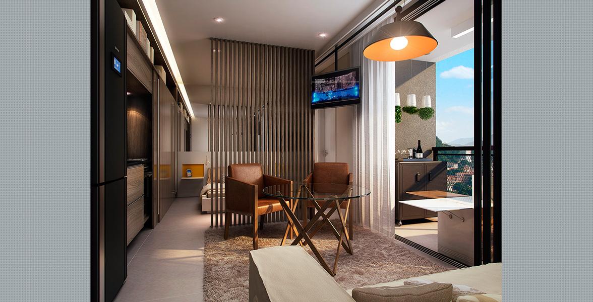 LIVING do studio de 31 m² com amplas portas de vidro que melhoram a integração com o terraço do Be Design