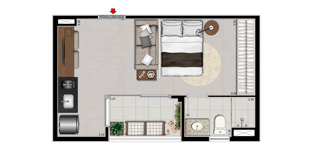 Planta do Be Design. 29 M² - STUDIO. Apto na Vila Olímpia com integração em L com o terraço, permitindo maior entrada de ventilação e luz natural. Os pisos do terraço são nivelados, deixando a circulação mais fluída.
