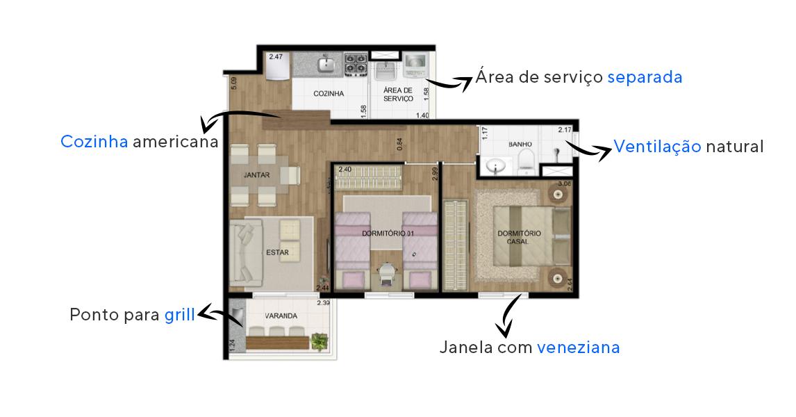 Planta do Homenagem Jaçanã. floorplan