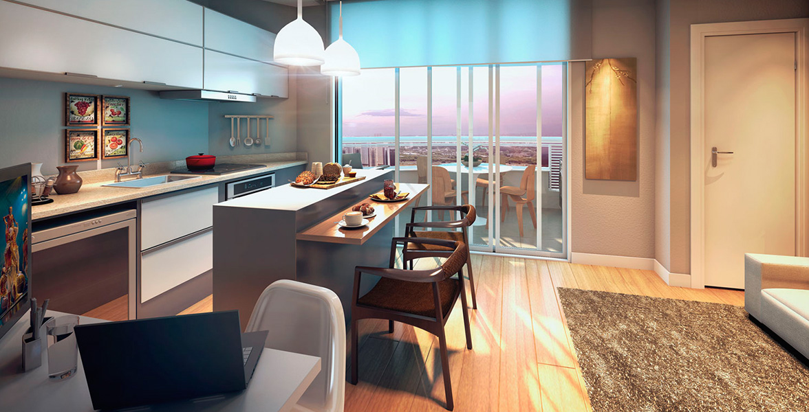 STUDIO de 32 m² com infraestrutura para ar-condicionado e automação residencial, permitindo que você controle luzes e sonorização pelo celular.