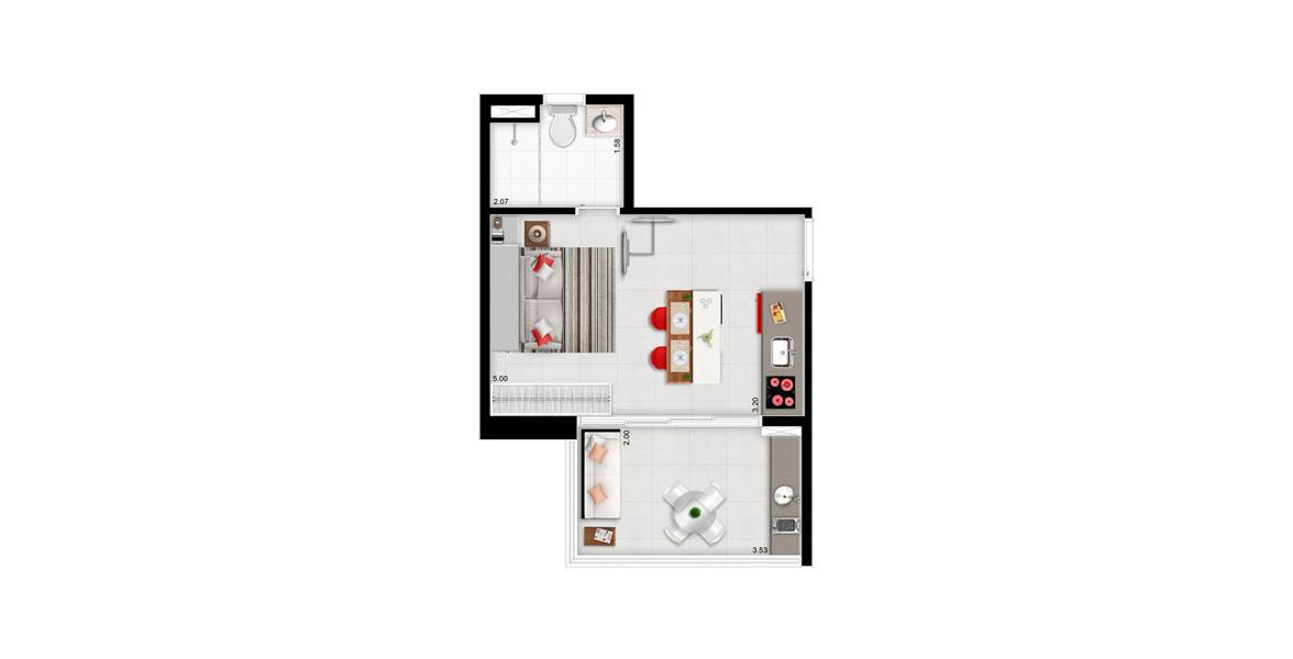 32 M² - STUDIO. Apartamento na Bela Vista com amplo terraço em L com 4 portas de vidro que correm em trilhos separados permitindo 75% de abertura do vão, com pisos nivelados.