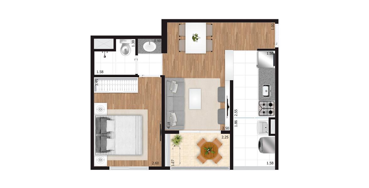 Planta do Boulevard Vila Maria. 39 M² - 1 DORM. Destaque para o banheiro com cuba externa, otimizando a utilização tanto para o dormitório quanto para a área social.