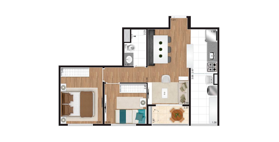 50 M² - 2 DORMS. Apartamento na Vila Maria com 2 dormitórios, cozinha americana e sala integrada ao terraço.