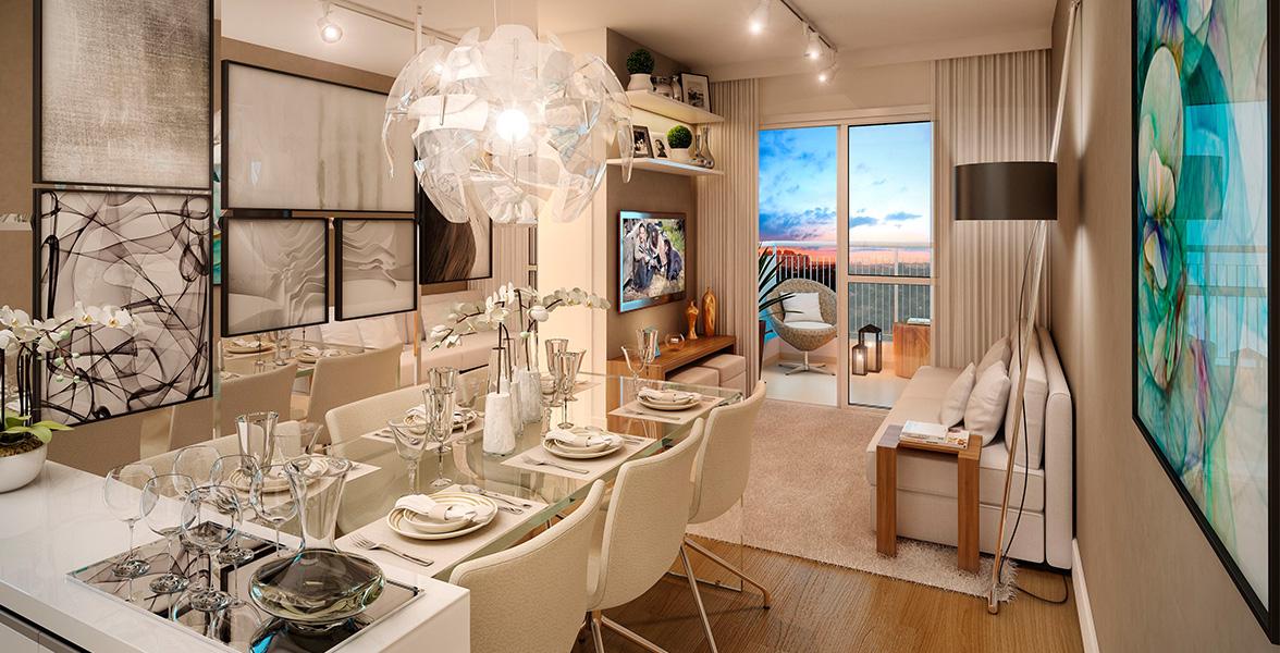 LIVING do apto de 51 m² com cozinha americana e integrado à varanda.